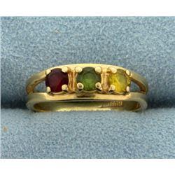 Garnet, Peridot, and Citrine Ring