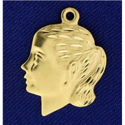 Girls Face Charm or Pendant