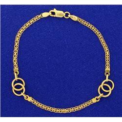 7 1/2 Inch Alternating Flat Link and Ring Designer Bracelet