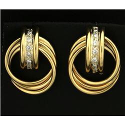 Diamond and Gold Rings Earrings