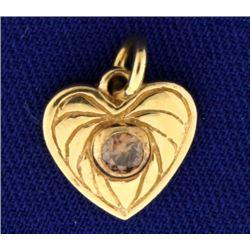 Champagne Diamond Heart Pendant/Charm