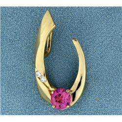 Pink Topaz and Diamond Pendant/Slide