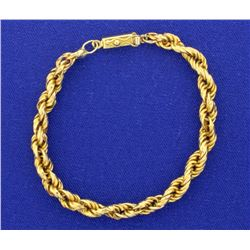 18k Gold 7 Inch Rope Style Bracelet
