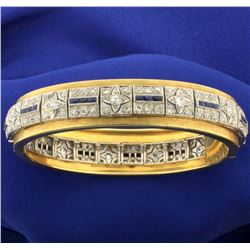 Vintage Diamond and Sapphire Bangle Bracelet