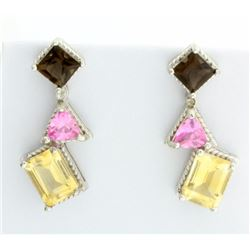 Modern Pink & Smokey Topaz with Citrine Earrings
