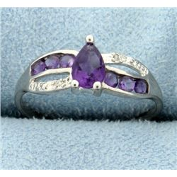 Pear Shaped Amethyst Ring with Diamonds