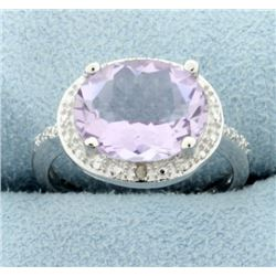 Huge 13ct Pink Amethyst Statement Ring with Diamonds