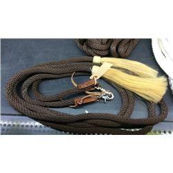 Nylon split rein with swivel snap and horse hair tassles
