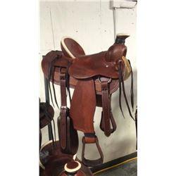 Association style 16 inch high back roping saddle montana saddlery hard seat