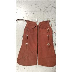 All leather bat wing chaps with pocket