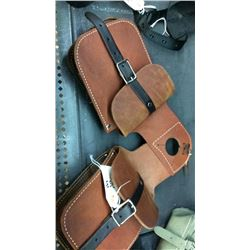 Harness leather horn bags