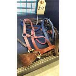 Bundle of used tack with bronc halter