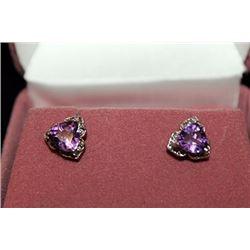 Lady's Fancy Purple Gemstone & Diamonds Silver Stud Earrings (1E)