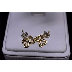 Gorgeous 14kt Gold over Silver Double Heart Stud Earrings (5E)