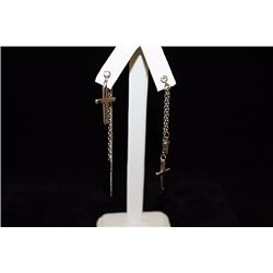 Lady's Fancy Dangly Crosses Silver Earrings (11E)