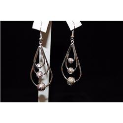 Lady's Fancy Pear Shape & Balls Silver Earrings (31E)