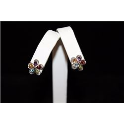 Stunning Flower Mix Gemstones Silver Stud Earrings (70E)