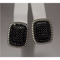 Gorgeous Black Diamonds Silver Earrings (77E)