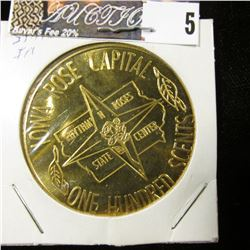 """1975 """"Iowa Rose Capital One Hundred Scents State Center, Iowa"""", 39mm, br., BU."""