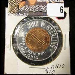 "1964 Gem BU Encased Cent, ""Keep me and never go broke"", ""John W. Sterling…Lima, Ohio"""