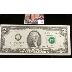 Series 2003 Two Dollar Federal Reserve Note. Nearly CU.