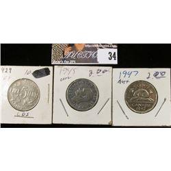 1929, 45, & 47 Canada Nickels.