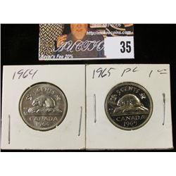 1964 & 65 Canada BU & Prooflike Nickels.