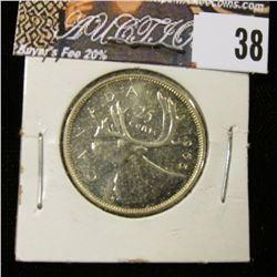 1965 Canada Silver Quarter, Prooflike.