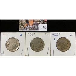 1928 P, D, & S Buffalo Nickels. G-VG.