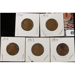 1910P, 11P, 12P, 13P, & 14P Lincoln Cents, All Good.
