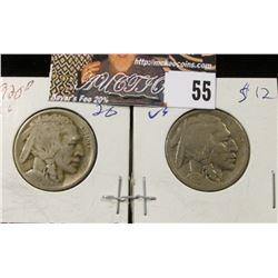 1920 D & 20 S Buffalo Nickels, G-VG.