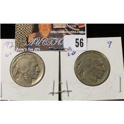 1923 S & 25 S Buffalo Nickels, G-VG.