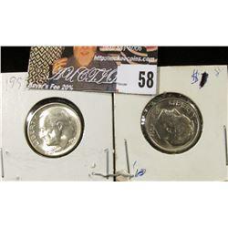 1955 S & 65 P Roosevelt Dimes, Gem BU.
