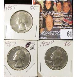 1965 P, 67 P, & 70 D Washington Quarters, Uncirculated.