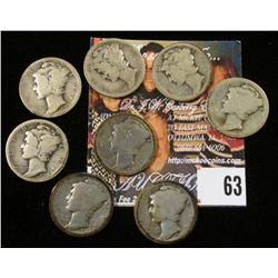 1916 P, 17 P, D, S, 18 P, D, S, & 19 D Mercury Dimes. (8 pcs.).
