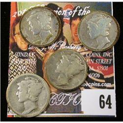 1920 P, S, 23 P, & 24 S Mercury Dimes. (4 pcs.)