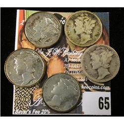 1925 P, D, 26 P, 27 P, & S Mercury Dimes. (5 pcs.)