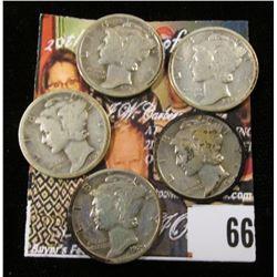 1928 P, 29 P, S, 30 P, & 34 P Mercury Dimes. (5 pcs.)