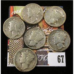 1935 P, D, S, 36 P, D, & S Mercury Dimes. (6 pcs.)