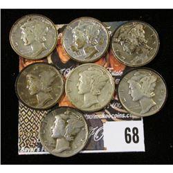 1937 P, D, S, 38 S, 39 P, D, & S Mercury Dimes. (7 pcs.)