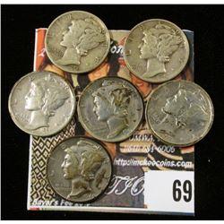 1940 P, D, S, 41 P, D, & S Mercury Dimes. (6 pcs.)