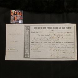 """Dec. 20, 1858 """"Office of the Iowa Central Air line Rail Road Company 150 Shares signed by famous att"""