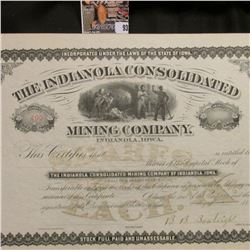 """Stock Certificate # 499 """"The Indianola Consolidated Mining Company, Indianola, Iowa"""", signed by B.B."""