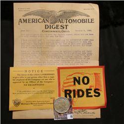 """January 2, 1924 """"American Automobile Digest"""", Cicinatti, Ohio; & 1925 P U.S. Peace Silver Dollar, VF"""