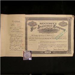 """1932 Stock Certificate """"Security Fire Insurance Company Davenport, Iowa""""; & 1923 P U.S. Peace Silver"""
