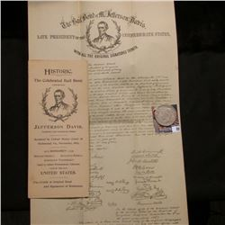 """""""Historic The Celebrated Bail Bond of Jefferson Davis, President, Late Confederate States. Accepted"""