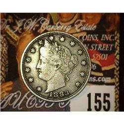 1883 No Cents Liberty Nickel, VF.