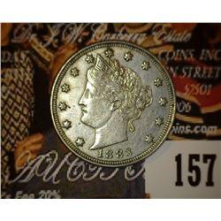 1883 No Cents Liberty Nickel, VF-EF.