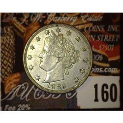 1883 No Cents Liberty Nickel, EF.
