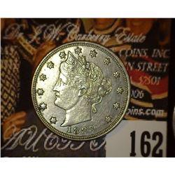 1883 No Cents Liberty Nickel, AU-55